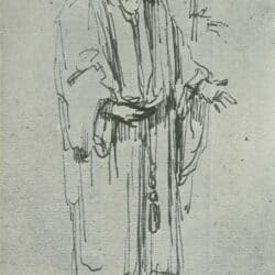 Rembrandt, drawing of a standing man