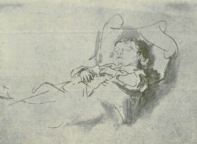 Rembrandt drawing of a sleeping boy
