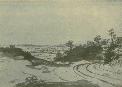 Rembrandt tekening landschap met weg in de duinen