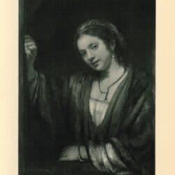 Rembrandt painting Hendrickje Stoffels at an open half-door