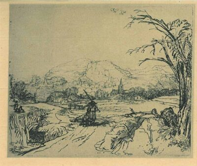 Rembrandt, Bartsch B. 211, Landscape with a shepherd and a dog or 'Het jagertje'