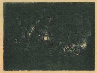 Rembrandt, Bartsch B. 46, The adoration of the shepherds: a night piece