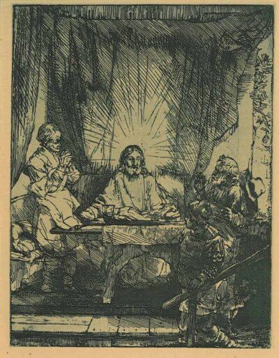 Rembrandt, Bartsch B. 87, Christ at Emmaus: the larger plate