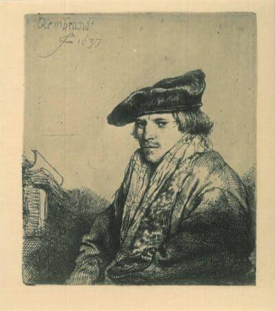 Jonge man met fluwelen baret [vermoedelijk de predikant Petrus Sylvius (1610-1653)], Rembrandt, Ets, Bartsch B. 268