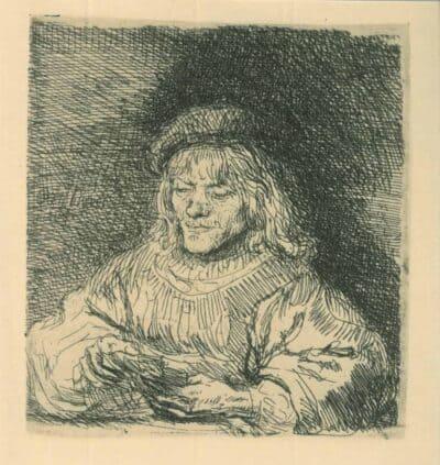 The card player, Rembrandt Etching, Bartsch B. 136