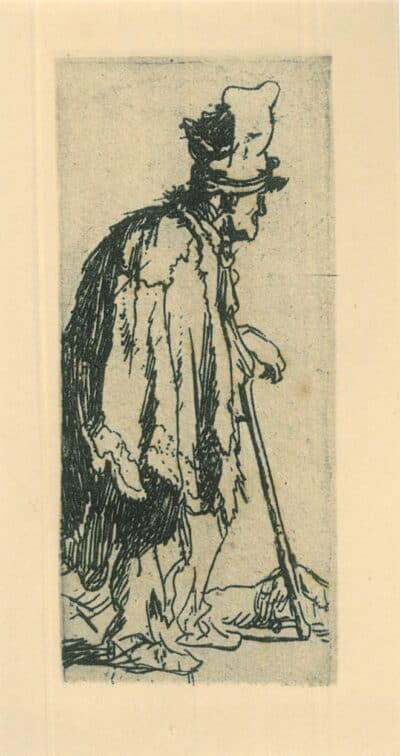 Beggar with a crippled hand leaning on a stick, Rembrandt, Etching, Bartsch B. 166