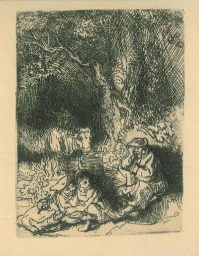 De slapende herder, Rembrandt, Bartsch B. 189