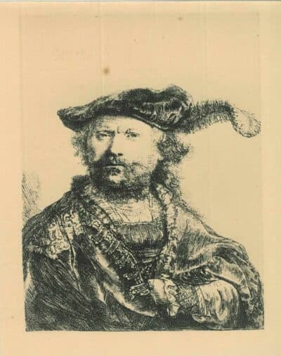 Zelfportret met gepluimde fluwelen baret, Rembrandt, Bartsch, B. 20