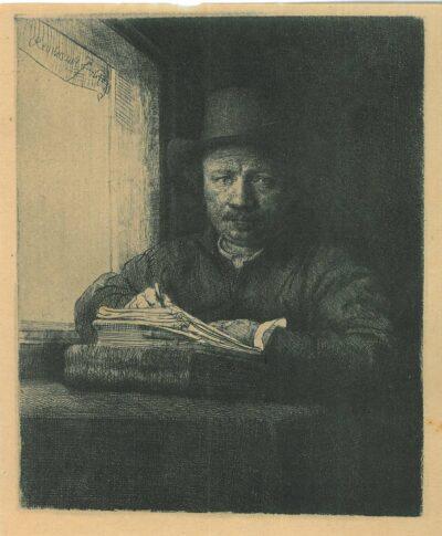 Zelfportret tekenend aan een venster, Rembrandt, Bartsch, B. 22