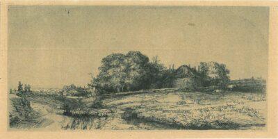 Landschap met een hooimijt en een kudde schapen, Rembrandt, Bartsch, B. 224