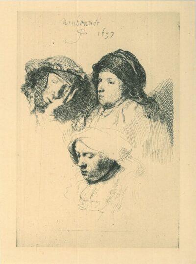 Drie vrouwenkoppen, één slapend, Rembrandt, Bartsch, B. 368