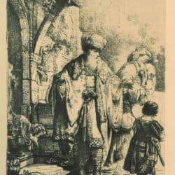 Abraham verstoot Hagar en Ismaël, Rembrandt, Bartsch, B. 30