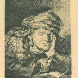 Slapende oude vrouw, Rembrandt, Bartsch, B. 350
