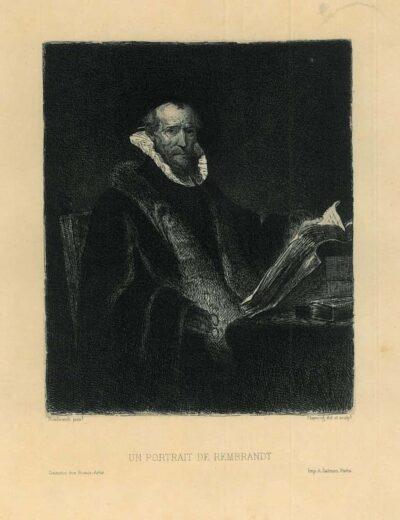 Rembrandt painting, Leopold Flameng etching, portrait of an old man reading a book, 'un portrait de rembrandt'