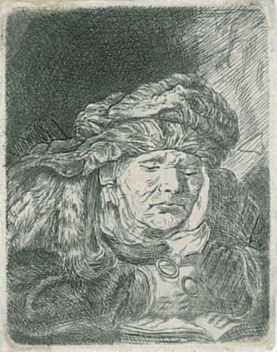 Rembrandt, Bartsch B. 350, James Bretherton (c.1730 - 1806), Slapende oude vrouw