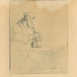 Rembrandt, Bartsch B. 147, Een in gedachten verzonken oude man, leunend op een boek