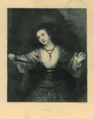 Karl Köpping etching, after Rembrandt painting, the