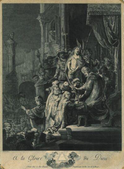 Rembrandt, Bartsch B. 77, New Hollstein 155, copy f, Christ before Pilate