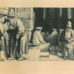 Rembrandt, Bartsch B. 126, Pharisees in the Temple [Jews in the synagogue]