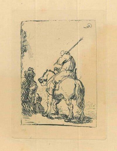 Rembrandt, Bartsch B. 139, Ruiter op de rug gezien [Soldaat met tulband te paard]