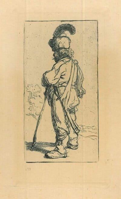 Rembrandt, Bartsch B. 141, Een Pool, leunend p zijn stok: naar links