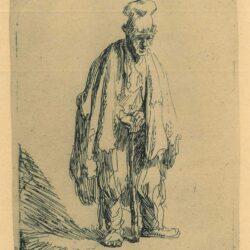 Rembrandt, Etching, Bartsch B. 162, Beggar in a high cap, standing and leaning on a stick