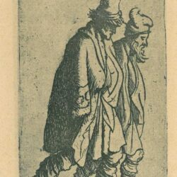 Rembrandt Etching, Bartsch b. 154, Two beggars tramping towards the right