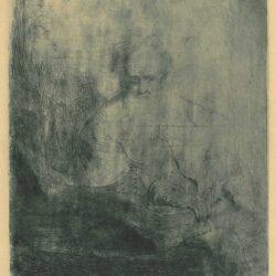 Rembrandt, etching, Bartsch B. 149, De apostel Paulus in gedachten verzonken
