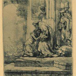De thuiskomst van de verloren zoon, Rembrandt, ets, Bartsch B. 91