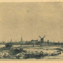 Rembrandt, Etching, Bartsch B. 210, View of Amsterdam from the northwest