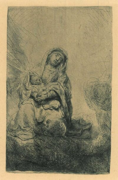 Rembrandt, Bartsch B. 61, Etching, Virgin and child in the clouds