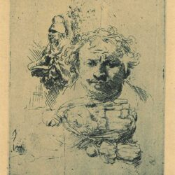 Rembrandt, Etching, Bartsch B. 370, Sheet of studies with the head of the artist, a beggar woman, woman and child