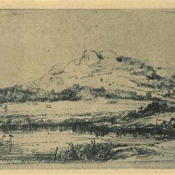 Rembrandt, Etching, Bartsch B. 235, Canal with an angler and two swans