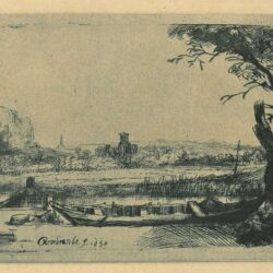 Rembrandt, Etching, Bartsch B. 236, Canal with a large boat and bridge, or 'Het schuytje op de voorgrondt'