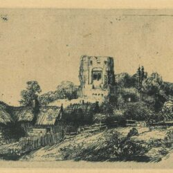Rembrandt, Etching, Bartsch B. 218, Landscape with a square tower