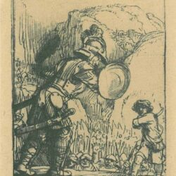 Rembrandt Ets, Bartsch 36, Four illustrations to a Spanish book, David and Goliath