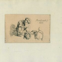Rembrandt drawing, A Woman with a Child Frightened by a Dog