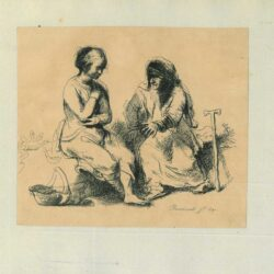 Rembrandt, Drawing, An old woman with a stick addressing a young seated woman with a basket