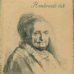 Rembrandt, etching, Bartsch b. 354, The artist's mother: head and bust, three-quarters right