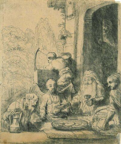 Rembrandt Ets, Bartsch 29, Abraham onthaalt de engelen