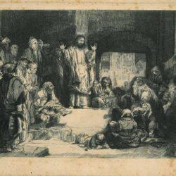 Rembrandt, etching, Bartsch B. 67, Christ preaching ['La petite tombe']