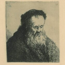 Rembrandt Etching, Bartch b. 314, Bearded old man with a high forehead