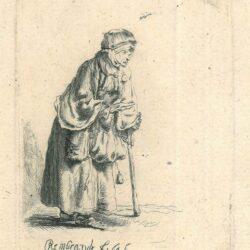 Rembrandt, etching, Bartsch 170, New Hollstein 229, Beggar woman leaning on a stick