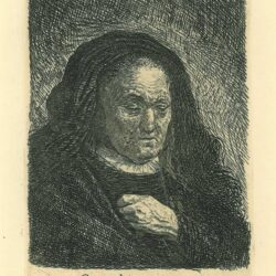 Rembrandt, etching, Bartsch B. 349, The artist's mother with her hand on her chest: small bust