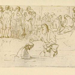 Rembrandt, tekening, hofstede de groot 214, de doop van christus in de jordaan