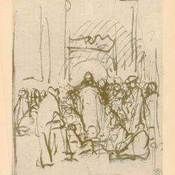 Rembrandt, tekening, Christus en de overspelige vrouw
