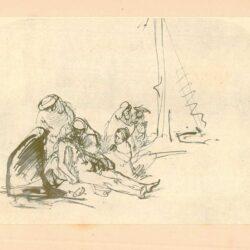 Rembrandt, tekening, Hofstede groot 224, Debewening van Christus