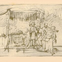Rembrandt, tekening, hofstede de groot 229, De opwekking van Tabitha door Petrus