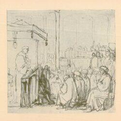 Rembrandt, tekening, hofstede de groot 235, een monnik preekt voor een volle kerk