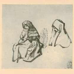 Rembrandt, tekening, hofstede de groot 258, Twee studies van een zittend meisje